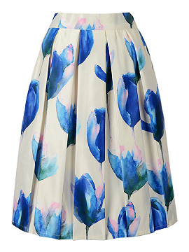 White Floral Print High Waist Midi Skirt