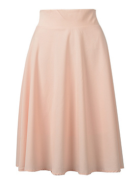 Peach Pink High Waist Midi Skater Skirt