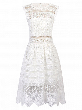 White Scalloped Hem Cut Out Lace Skater Dress