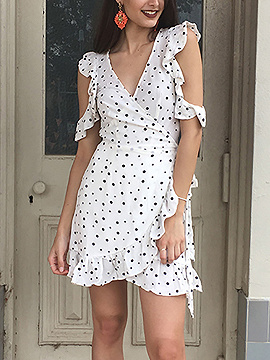 White V Neck Polka Dot Ruffle Wrap Dress