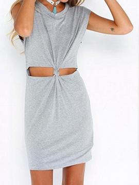 Gray Short Sleeve Open Belly Dress