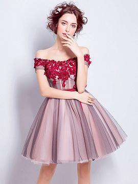 Pink Off Shoulder Floral Applique Bow Wasit Skater Prom Dress