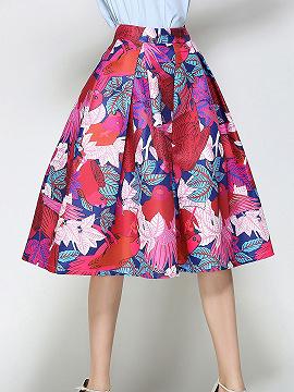 Polychrome High Waist Floral Skater Prom Skirt