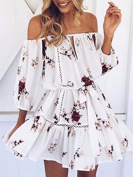 White Floral Print Off Shoulder Cut Out Ladder Trim Skater Dress