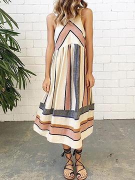 Polychrome Contrast Stripe Print Tank Midi Dress