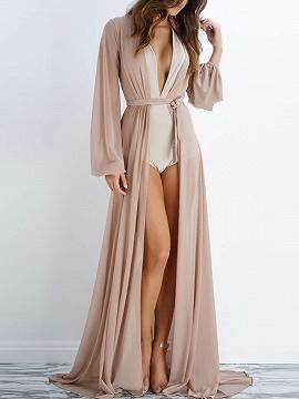 Nude Sheer Mesh Tie Waist Open Front Maxi Beach Kimono