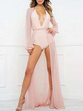 Pink Sheer Mesh Tie Waist Maxi Kimono