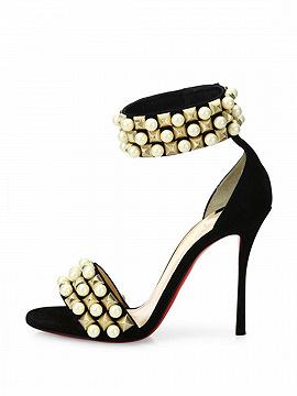 Black Suede Stud And Pearl Embellished Ankle-strap Heeled Sandals
