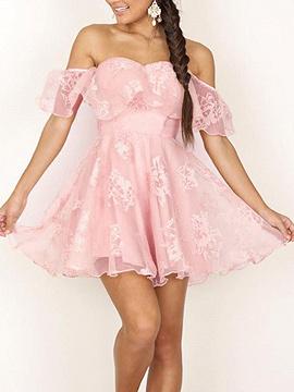 Pink Sweetheart Off Shoulder Ruffle Lace Mesh Skater Dress