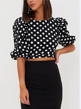 Black Polka Dot Half Puff Sleeve Crop Top