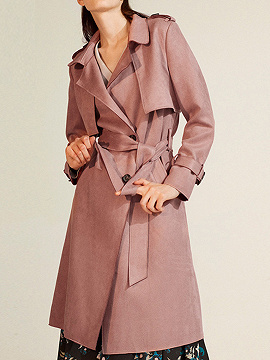 Pink Faux Suede Lapel Belted Waist Longline Trench Coat