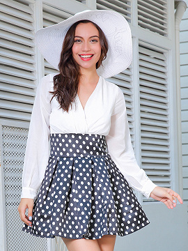 White V Neck Contrast Polka Dot Long Sleeve Skater Dress