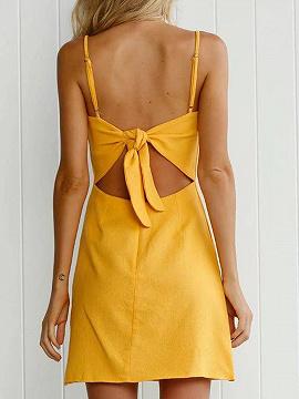 Mini yellow bow tieback