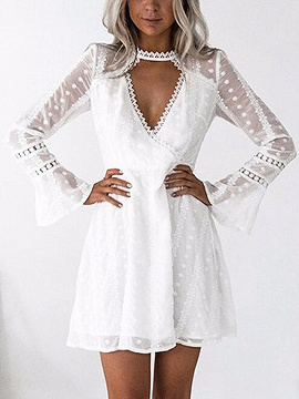 White Plunge Lace Panel Polka Dot Flare Sleeve Mini Dress