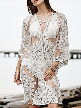 White Open Front Sheer Lace Kimono