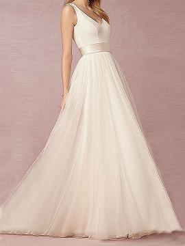 White V-neck Mesh Panel Open Back Party Dress