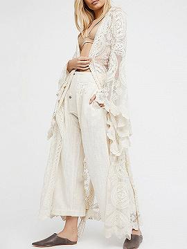 White Tie Waist Open Front Flare Sleeve Lace Kimono