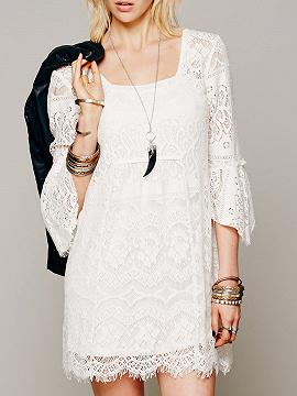White Flare Sleeve Overlay Lace Mini Dress Choiescom