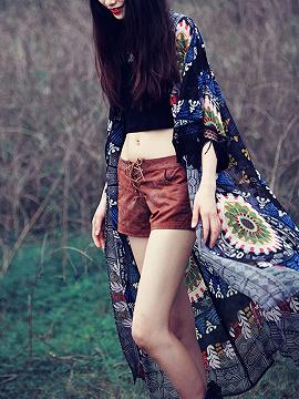 Black Folk Print Tassel Cuff Long Sleeve Longline Kimono