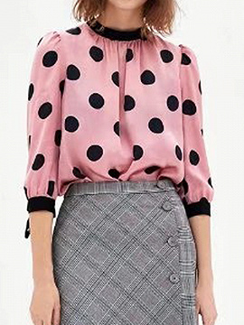 Pink Tie Cuff Polka Dot Button Placket Back Long Sleeve Blouse