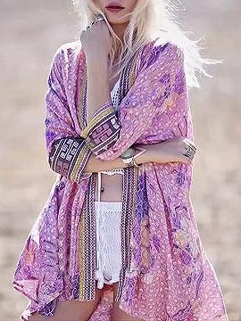 Polychrome Open Front Dipped Hem Kimono