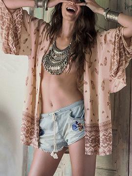 Pink Folk Pattern Long sleeve Kimono