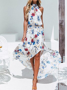 White High Neck Floral Print Thigh Split Front Hi-Lo Maxi Dress | Choies