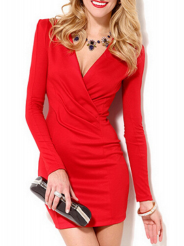 Red V-neck Bodycon Dress With Long Sleeve
