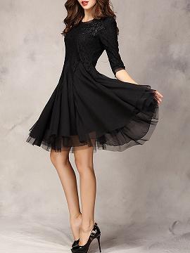 Black Lace Panel Party Dress