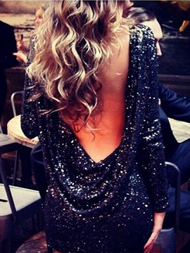 Noir de luxe Sequin Party Dress Backless