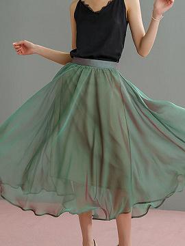 Light Green Chiffon High Waist Chic Women Midi Skirt
