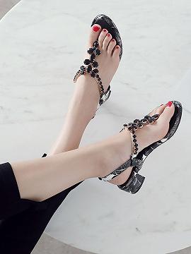 Women's Black Gem Embellished V-shaped Ankle Strap Leather Sandals