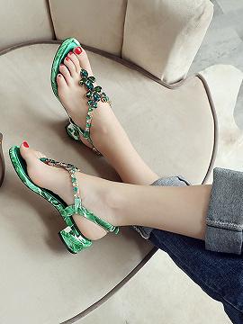 Women's Green Gem Embellished V-shaped Ankle Strap Leather Sandals