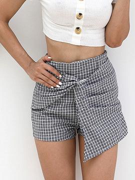 Schwarz karierte Baumwollmischung hohe Taille Knoten vorne schicke Frauen Shorts