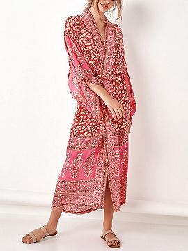 Red Folk Print Open Front Flare Sleeve Chic Women Longline Kimono