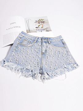 Hellblaue hohe Taille Perlen verziert schicke Frauen Denim Shorts