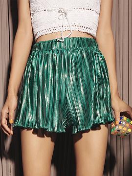 Verde cintura alta plisada detalle volante Trim Chic mujeres pantalones cortos