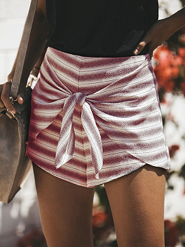 Red Stripe High Waist Tie Front Chic Mujeres Shorts