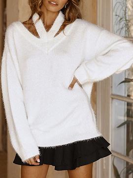 Weiß V Ausschnitt Cold Shoulder Long Sleeve Chic Frauen stricken Pullover