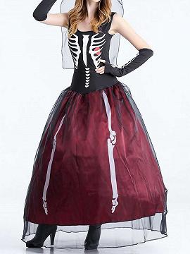 Burgundy Skeleton Print Sleeveless Halloween Cosplay Party Maxi Dress