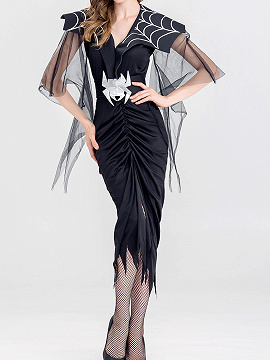 Black Nylon Spider Print Sheer Mesh Panel Halloween Party Dress
