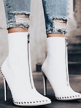 White PU Stud Detail Pointed Toe High Heeled Ankle Boots