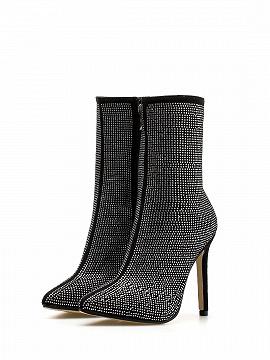 Black Velvet Sequin Detail Pointed Toe High Heeled Ankle Boots