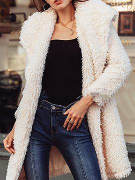Light Beige Lapel Long Sleeve Faux Fur Coat
