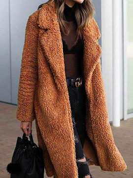 Dark Camel Brown Lapel Long Sleeve Chic Women Faux Fur Coat