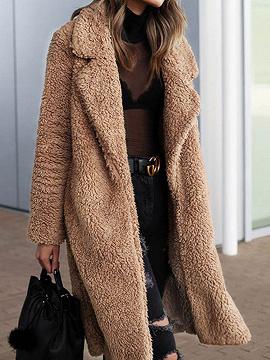Light Camel Brown Lapel Long Sleeve Chic Women Faux Fur Coat
