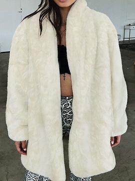 Beige Lapel Long Sleeve Faux Fur Coat