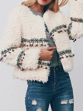Beige Open Front Folk Tassel Pendant Long Sleeve Faux Fur Coat