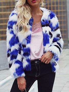 Blue Contrast Open Front Long Sleeve Women Faux Fur Coat