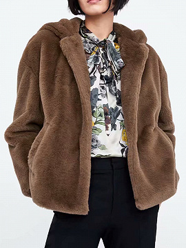Camel Brown Long Sleeve Women Faux Fur Hooded Coat